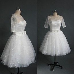 Wholesale Gorgeous Casual Dresses - Gorgeous Informal Short Puffy Wedding Dress Illusion Crew Neck Short Sleeves Dotted Tulle Casual Bridal Gowns with Bow Sash