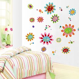 Wholesale Scenery Wall Sticker - Colour Cartoon Flower Scenery Wallpaper Creative DIY Removable Wall Stickers Multi Function Family Decorate Articles 2 8jm J R