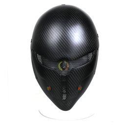 Maschera full paintball online-Nuovo Design Sport Outdoor in fibra di carbonio tattico di combattimento grigio Fox Full Face Mask, Paintball maschera protettiva Hood in vendita