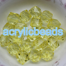 Wholesale Square Crystal Beads 14mm - 30pcs Factory 14MM Acrylic Plastic Crystal Faceted Cube Beads Square Spacer Beads Charms Jewelry Necklace Making