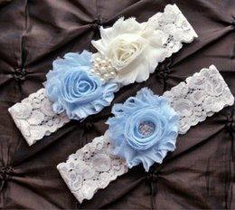 Wholesale Vintage Wedding Garter Sets - 1 pair wedding garter set Light Blue bridal lace stretch toss garter vintage inspired garter