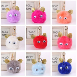 Wholesale Ear Rings Star - Good A++ Cat ear hair ball key ring fur pendant car bag pendant KR371 Keychains mix order 20 pieces a lot