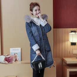 Wholesale Hoodie Denim Trench - Hoodies Denim Long Trench Women Autumn Winter 2017 Zipper Sleeve Big Size Loose Women's Jeans Windbreaker Clothing