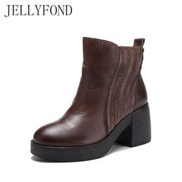 Wholesale Wedge Platform Boots Vintage - Handmade Real Leather Chunky Heels Ankle Boots for Women 2017 Autumn Vintage Style Platform Chealea Boots Designer Shoes Woman
