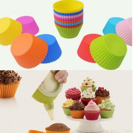 Wholesale Mold Cup - 7cm Round Shaped Silicone Cake Baking Molds Muffin Cups Cake Mould Cupcake Bakeware Maker Mold Tray Jelly Baking Mold Cup 8 color KKA1554