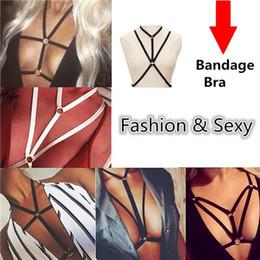 Wholesale Necklace Chain Body - High Quality Body Chain Harness Beach Belly Jewelry Bikini Elastic Body Chains Necklace Bralette Chain Summer Cage Bar Party Bandage Bra