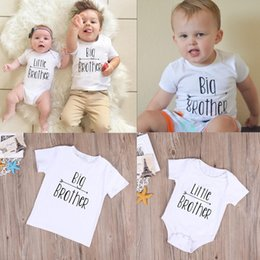 Wholesale Tshirt Kids New - Big and Little Brother Clothes Kids Tshirt Baby Romper White Letter Print Summer Fashion Family Children Clothing Boys T Shirt New