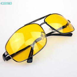 Wholesale Yellow Night Driving Glasses - Wholesale-Hot sale 2015 fashion Glasses Driver HD High Definition Night Driving Vision Sunglasses Yellow Lens wholesale