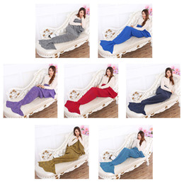 Wholesale Thread Blanket - Spring Bedding Sofa 195x80 Mermaid Blanket Wool Knitting Fish Style Little Tail Blankets Warm Sleeping Child Princess Loves Gift 0711004