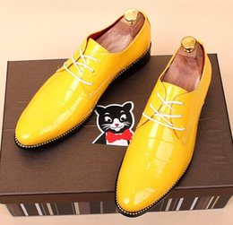 Wholesale Up Parts - NEW Hot Mens Red Casual Leather Shoes Pointed Toe Party Oxford British Patent Leather Wedding Part Shoes Yellow Size EU37-44 7