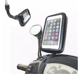 Porta-moedas on-line-DHL Livre Motocicleta À Prova D 'Água Telefone Celular Caso Saco de Espelho Retrovisor Suporte de Montagem para Samsung para Iphone