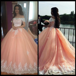 Wholesale Quinceanera Images - 2018 Blush Pink Ball Gown Quinceanera Dresses Bateau Neck Short Sleeves Appliques Tulle Plus Size Sweet 16 Dresses Saudi Arabic Prom Dresses