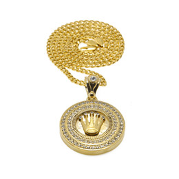 Wholesale Male Gold Pendants - Men Diamond Crown Round Male Hip-Hop Gold Plated Crown Pendant Alloy Tag Necklace Cuban Chain