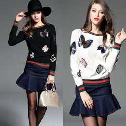 Wholesale European Jacket Women - Women Sweater Bling Bling Sequin Patch Pullover Fashion Butterfly Knitted Cashmere Jumper Female Appliques Jacket Coat Tops