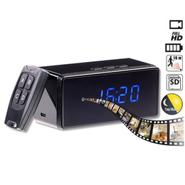 Wholesale Spy Clock Motion Activated - 1920*1080 HD Portable Alarm Clock Spy Camera Motion Activated Home Security Remote Control Hidden DVR IR Night Vision Video Recorder