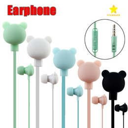 Wholesale ear candy earphones - Cute Plastic Candy Color In-ear Universal Microphone Stereo Cartoon Mini Earphones 3.5mm for Samsung Xiaomi MP3 MP4 Player OPP Bag