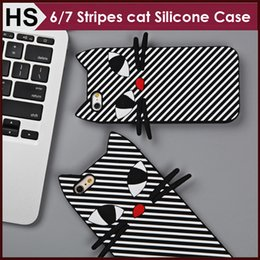 Wholesale Cat Ears Iphone Cases - Soft Cat Ear Silicone Case For iPhone 6 6s Plus 7 Plus diagonal Stripes Design Cartoon Back Skin Phone Cover DHL Wholesale