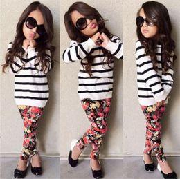 Wholesale Zebra Leggings Hot - INS HOT Girls Baby Childrens Clothing Sets Striped T-shirts Floral Pants 2Pcs Set Spring Autumn Girl Kids Leggings Boutique Clothes Outfits