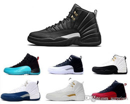 Wholesale french lace rose - 2018 new 12 12s Basketball Shoes Wool Black Grey FLU game Blue Suede French blue gym red wolf Playoff Gamma Blue GS sale