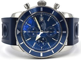 Wholesale Luxury Watches Chrono - Free shipping Luxury Brand New SuperOcean Heritage Chrono 46mm Quartz Watch A13320 Blue Dial And Rubber Band Mens Sports Wrist Watches