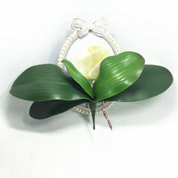 Wholesale Glue Pots Wholesale - Wholesale-Artificial flower Orchid leaveshigh quality PU gluing texture leaves DIY potted flower arrangements