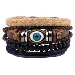 Wholesale Wood Bracelet Mens Black - Mens Evil Eye Most Popular Bracelets Leather Braided Style with Black Round Beaded Hand Ropes for Sale LB006