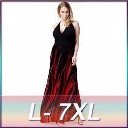 Wholesale Plus Size Maxi Dresses Sale - Plus size Printed Women Dress Size L-7XL 2016 Hot Sale Spaghetti Sweetheart Neck A line Floor Length Party Dress In Stock