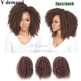 Extensiones de cabello marley online-Moda Mali Bob 3pcs 8 '' color sólido Afro Kinky Curly Crochet Kanekalon marley Braid Hair Extension