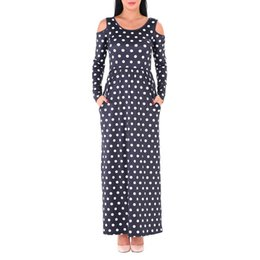 Wholesale long sleeve maxi dresses china - Cheap Clothes China Black Blue White O-Neck Long Sleeve Wave point Dot with Pocket Dress Women Clubwear Club wear Bandage