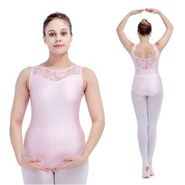 Wholesale Opening Performance - Ballet Dancing Leotards Nylon Lycra Lace Turtle-neck Tank Bodysuit with Open Back for Ladies Girls Performance Full Sizes Colors Available