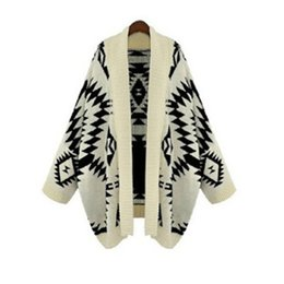 Wholesale Plus Size Poncho Cape - Wholesale- 2015 Autumn Winter New Casual Vintage Geometric Loose Batwing Cape Poncho Women Knitwear Coat Cardigan Sweater Shawl Plus Size