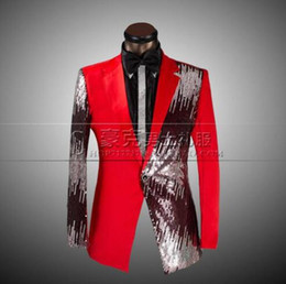 Wholesale Men S Blue Striped Ties - Red black blue 2017 arrival slim sequins men suit set with pants mens suits groom formal dress men wedding suit + pant + tie 4XL