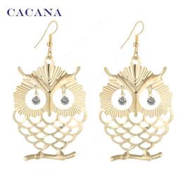 Wholesale Owls For Earrings - CACANA Earrings Gold Plated Dangle Long Earrings For Women Beautiful Owl With Shining Eye Bijouterie Hot Sale No.A445