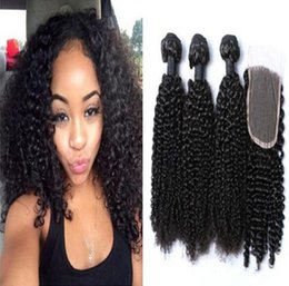 Wholesale Lace Closure Curl Inch - 8A Mongolian Africa Kinky Curl Hair Extensions with top lace closure Afro Kinky Curly Virgin Human Hair Weave Natural Black 3bundle