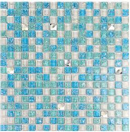 Wholesale Crystal Glass Tiles Wholesale - Mixed color blue ice crack glass tiles, kitchen backsplash wall deco mosaic tiles,beveled Crystal Diamond Mirror Glass Mosaic Tiles,LSTC154