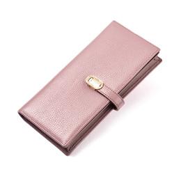 Wholesale Popular Korean Purses - Popular hasp burse purse cowhide wallets notecase top layer leather card bag phone bag long purse gold purse leather wallets L6815