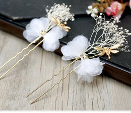 Wholesale Dragonfly Comb - 3 Pc Vintage Bridal Wedding Jewelry Silk Dragonfly Hairpin Bride Flower Rhinestone Headdress Hair Pin Clip Comb Hair Accessories