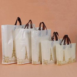 Wholesale Eiffel Tower Candy - Plastic Bags with Handle Eiffel Tower Shopping Bags For Christmas Wedding Birthday Party Gift Candy Jewlery Packing Bags
