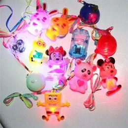 Wholesale Random Bear - Flashing LED Pendant Kids Necklace Plastic Spiderman Skull Bear Dolphin Miky Hello Kitty Pendant Necklace Random Delivery