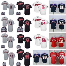 Wholesale Green 12 - Cleveland Indians 12 Francisco Lindor 24 Andrew Miller 22 Jason Kipnis 28 Corey Kluber 99 Ricky Vaughn Baseball World Series Baseball Jersey