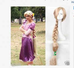 Wholesale Tangle Free Full Lace Wigs - Free shipping Quality Fashion Picture full lace High wigs>>100cm Princess Tangled Rapunzel long Braid blonde cosplay For Women wig