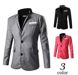 Wholesale Suit Canvas - Blazer men Fashion Pure Color collar Slim suit Leisure coat man Dress High-quality business casual jacket
