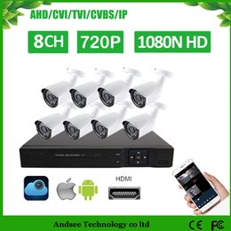 Wholesale Dvr 8ch 8pcs - HD 8CH 1080N CCTV Security System 8PCS 1000TVL IR Outdoor AHD 720P Video Surveillance Security Cameras 8 channel DVR Kit