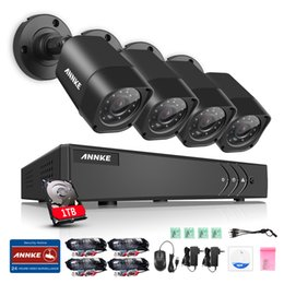 Wholesale Home Security Dvr 4ch - ANNKE HD 4CH 1080N DVR 720P HD Outdoor IR P2P Remote Alert Camera Home Security System 1TB HDD
