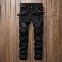 Wholesale leather jeans men skinny - Wholesale- Free Shipping High Quality Men PU leather jeans Casual Design Biker Jeans Men Slim Denim Straight Ripped Men Biepa Jeans