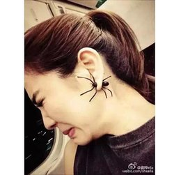 Wholesale 3d Charms - Hot Selling 3D Earrings European Fashion Gifts Black Spider Charm Ear Stud Earrings Spider Black Impalement Stud Earring Ear Clip Jewelry