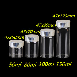 Wholesale Wholesale Large Glass Jars - Wholesale- 50ml 80ml 100ml 150ml Large Glass Bottles with Silver Screw Caps Empty Spice Bottles Jars Gift Crafts Vials 24pcs Free Shipping