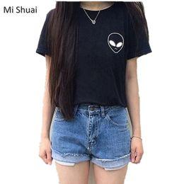 Wholesale Ufo Shirt - Wholesale- 3 Color 2016 Short Sleeve UFO T Shirt Alien Tops Tee Casual Loose Womens Cotton T-Shirts Top Haraiuku Shirt Summer Short Tops