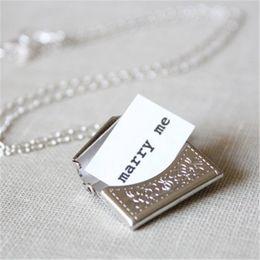 "Wholesale Gift Marry - 12pcs Silver Envelope Necklace with Secret Message ""marry me"""