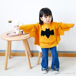 Wholesale Baby Bat - ins new arrivals baby girl bat-wing sleeve pullover sweater 100% cotton warm baby kids fall sweater 2 colors
